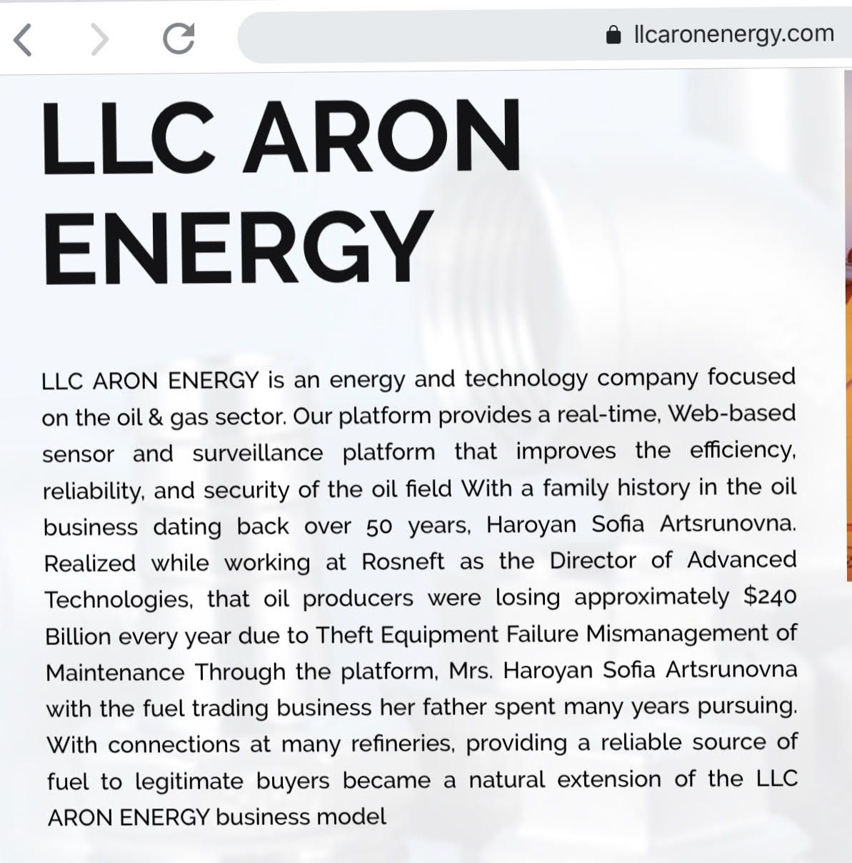 llcaronenergy com (Russian Oil Scam) - Stop 419 Scams and